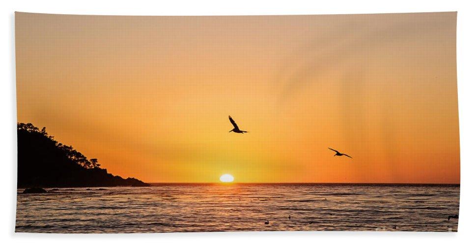 Sunset Beach Towel featuring the photograph Sunset On Monterey Beach by Scott Pellegrin