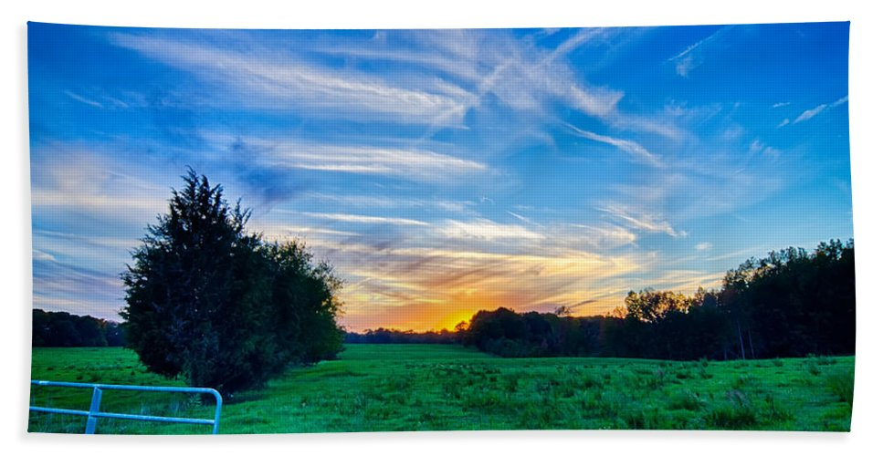 Sunset Beach Towel featuring the photograph Sunset On South Carolina Farm Land by Alex Grichenko