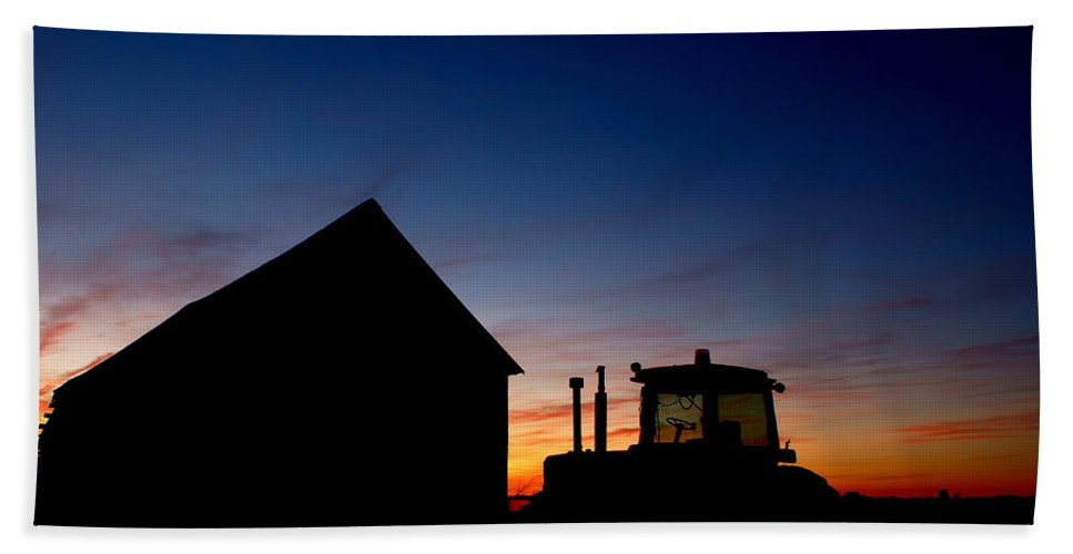 Barn Beach Towel featuring the photograph Sunset On The Farm by Cale Best