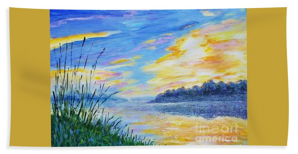 Autumn Landscape Beach Towel featuring the painting Sunset On The Lake by Olga Malamud-Pavlovich