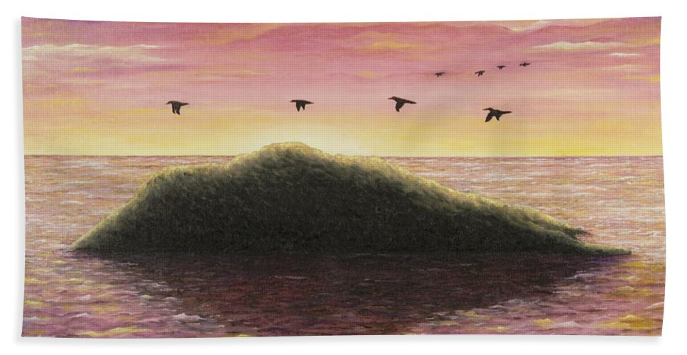 Pacific Sunset Beach Towel featuring the painting Sunset On The Pacific by Mary Ann King