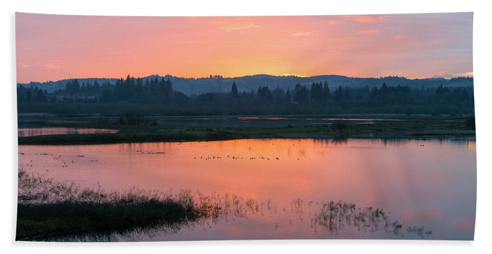 Sunset Beach Towel featuring the photograph Sunset On The Refuge by Steven Clark