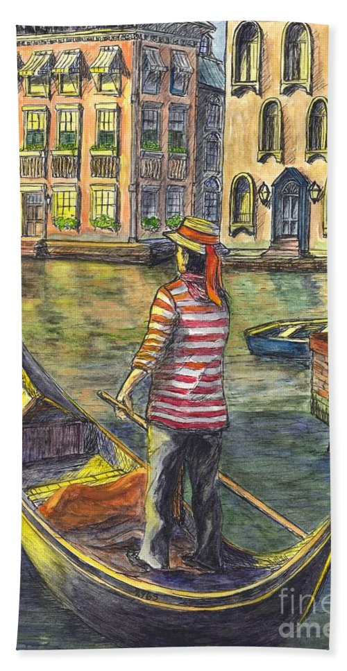 Gondolier Beach Towel featuring the painting Sunset On Venice - The Gondolier by Carol Wisniewski