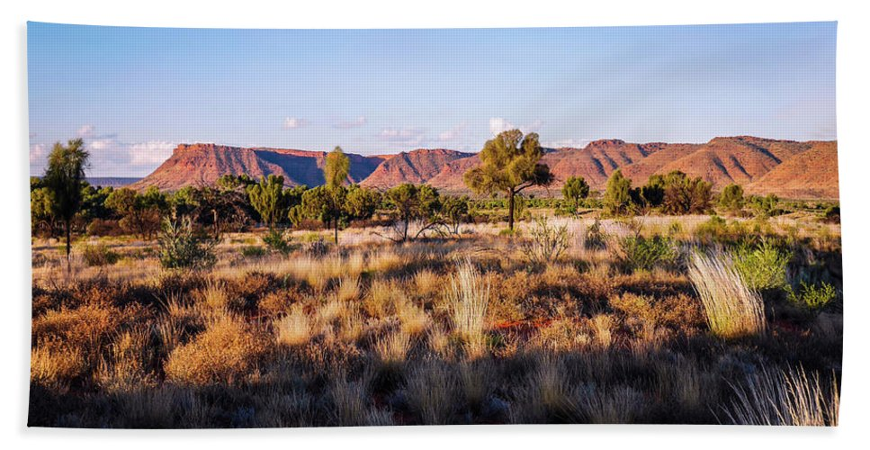 Raw And Untouched Northern Territory Series By Lexa Harpell Beach Towel featuring the photograph Sun Setting Over Kings Canyon - Northern Territory, Australia by Lexa Harpell