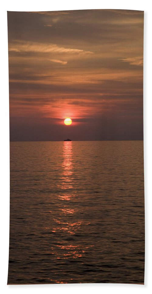 Sea Beach Towel featuring the photograph Sunset Over Pula by Ian Middleton