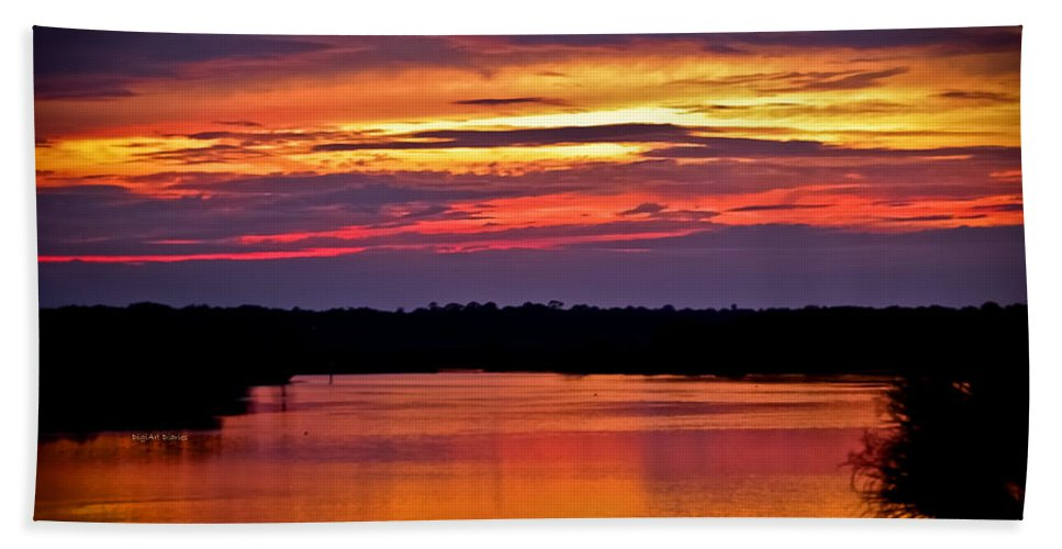 Tomoka River Beach Towel featuring the photograph Sunset Over The Tomoka by DigiArt Diaries by Vicky B Fuller