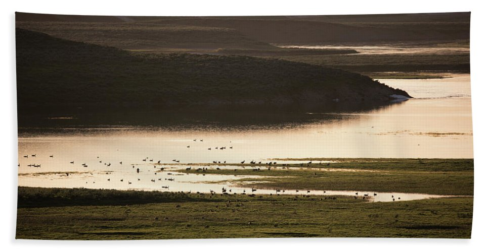 June Beach Towel featuring the photograph Sunset Over Yellowstone River In Yellowstone National Park by Astrid Hinderks