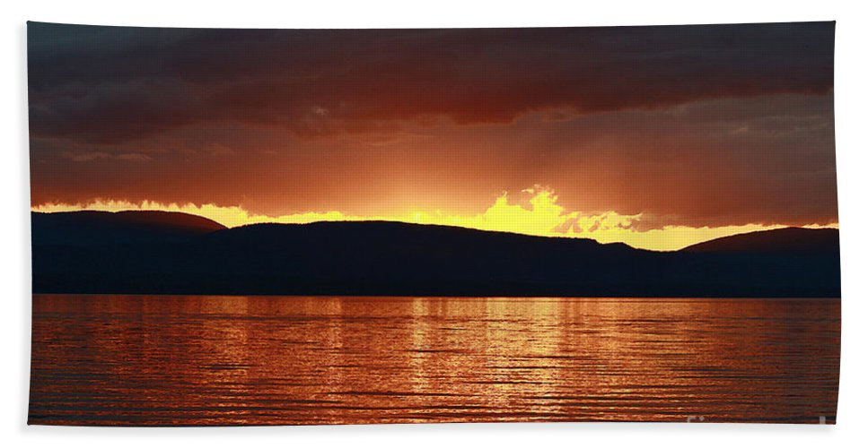 Lake Beach Towel featuring the photograph Sunset Red by Deborah Benoit