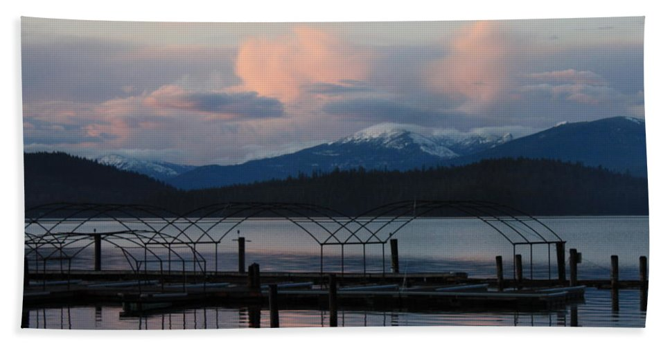 Priest Lake Beach Sheet featuring the photograph Sunset Reflecting Off Priest Lake by Carol Groenen