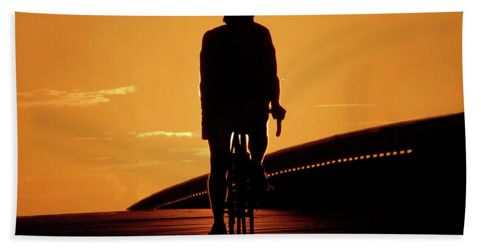 Fine Art Photography Beach Towel featuring the photograph Sunset Ride by David Lee Thompson