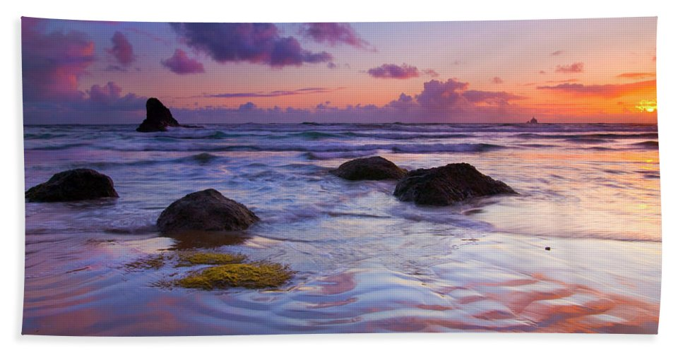 Sunset Beach Towel featuring the photograph Sunset Ripples by Mike Dawson