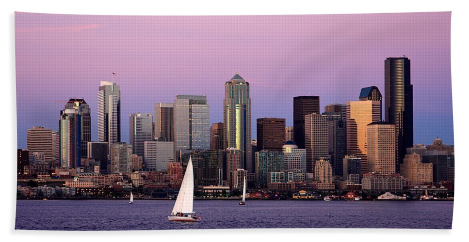 3scape Photos Beach Towel featuring the photograph Sunset Sail In Puget Sound by Adam Romanowicz