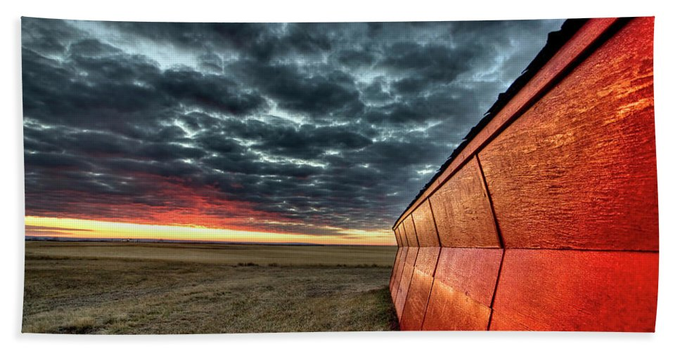 Sunset Beach Towel featuring the digital art Sunset Saskatchewan Canada by Mark Duffy