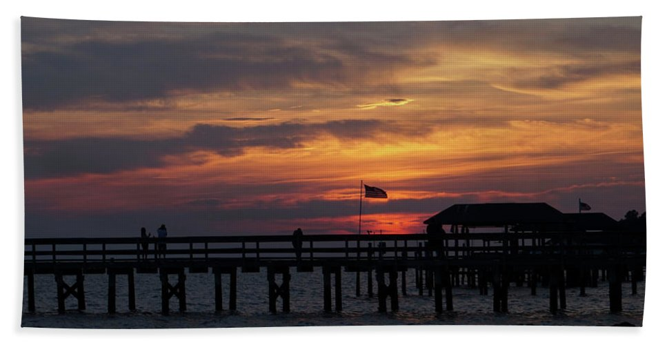 Beach Towel featuring the photograph Sunset Silhouette by Michael CrowderPhotography