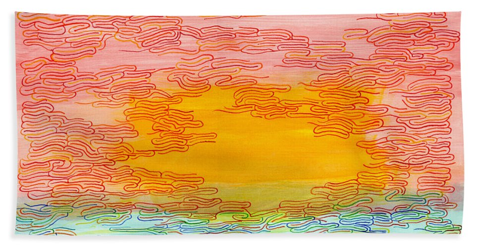 Mazes Beach Towel featuring the drawing Sunset by Steven Natanson
