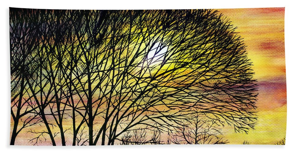 2d Beach Towel featuring the painting Sunset Tree Silhouette by Brian Wallace