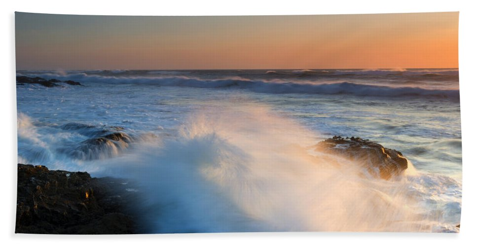 Yachats Beach Towel featuring the photograph Sunset Wave Explosion by Mike Dawson