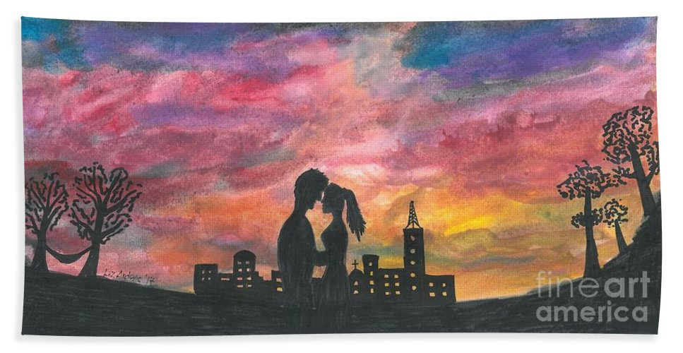 Couple Beach Towel featuring the painting Sunset With You by Liz Ardans