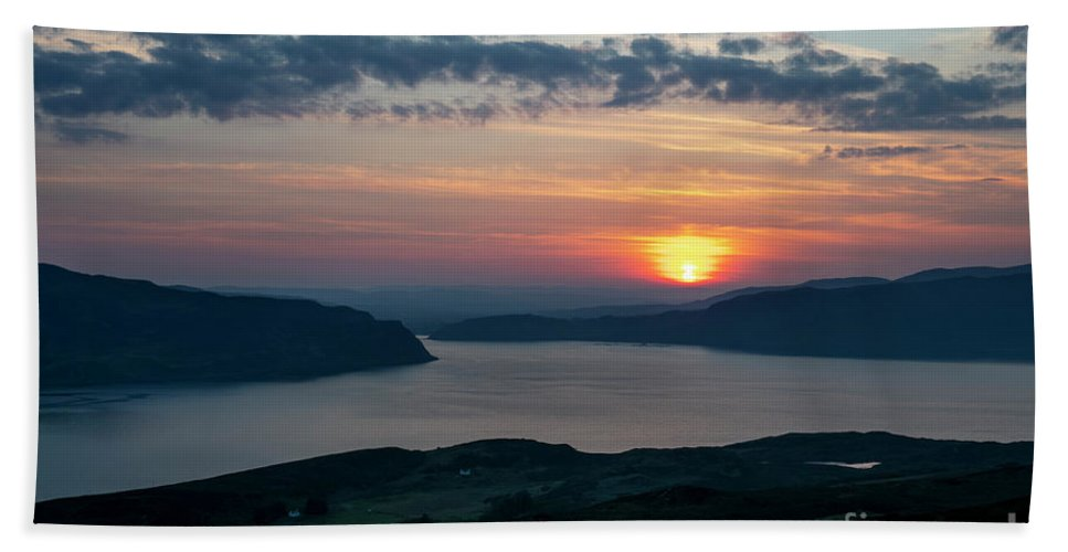 Sunset Beach Towel featuring the photograph Sunsetting Over Portree, Isle Of Skye, Scotland. by Phill Thornton