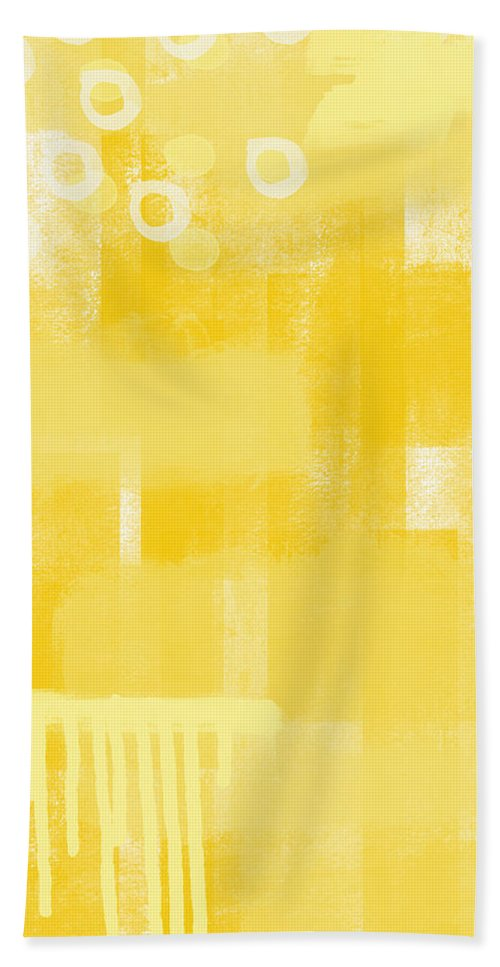 Sunshine Beach Towel featuring the painting Sunshine- abstract art by Linda Woods