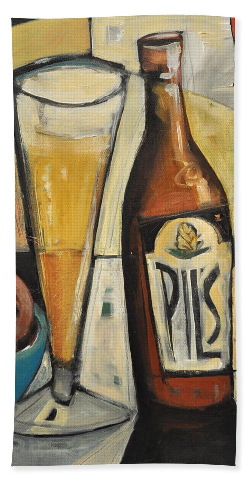 Beer Beach Towel featuring the painting Sunshine And Hops by Tim Nyberg