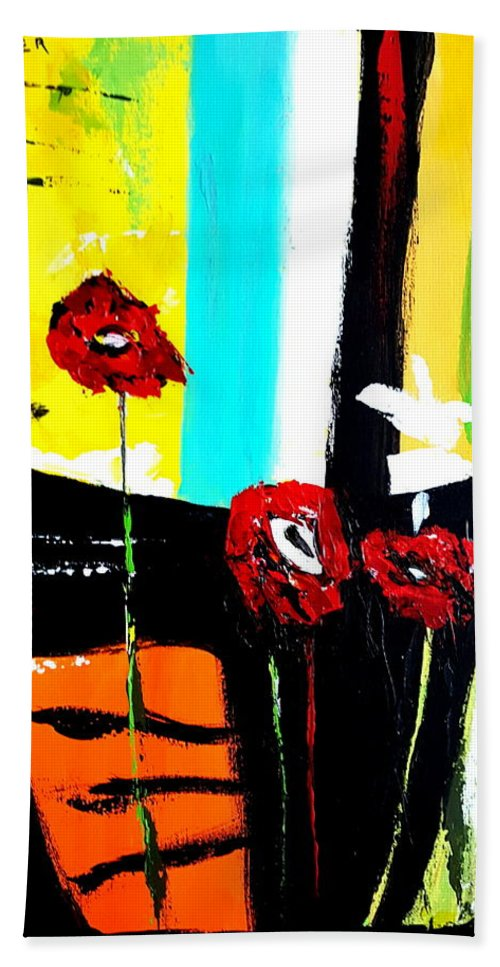 Abstract Flowers Beach Towel featuring the painting Sunshine And Poppies by Stuart Glazer