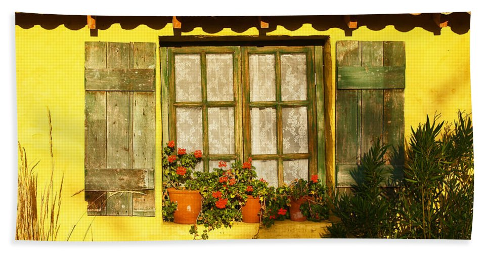 Window Beach Towel featuring the photograph Sunshine And Shutters by Bel Menpes