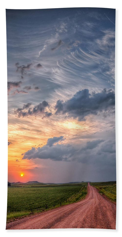 Landscape Beach Towel featuring the photograph Sunshine And Storm Clouds by Fiskr Larsen