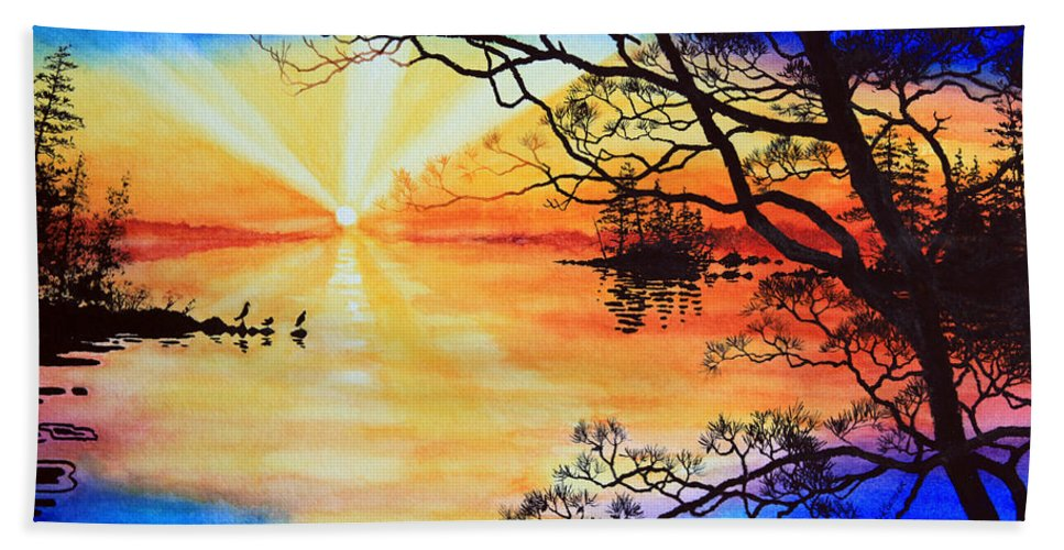 Northern Ontario Painting By Hanne Lore Koehler Beach Towel featuring the painting Sunshine On My Shoulders by Hanne Lore Koehler