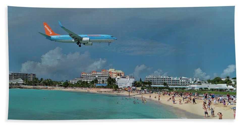 Sunwing Beach Towel featuring the photograph Sunwing Airline At Sxm Airport by David Gleeson