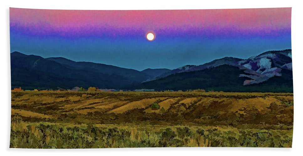 Santa Beach Towel featuring the photograph Super Moon Over Taos by Charles Muhle