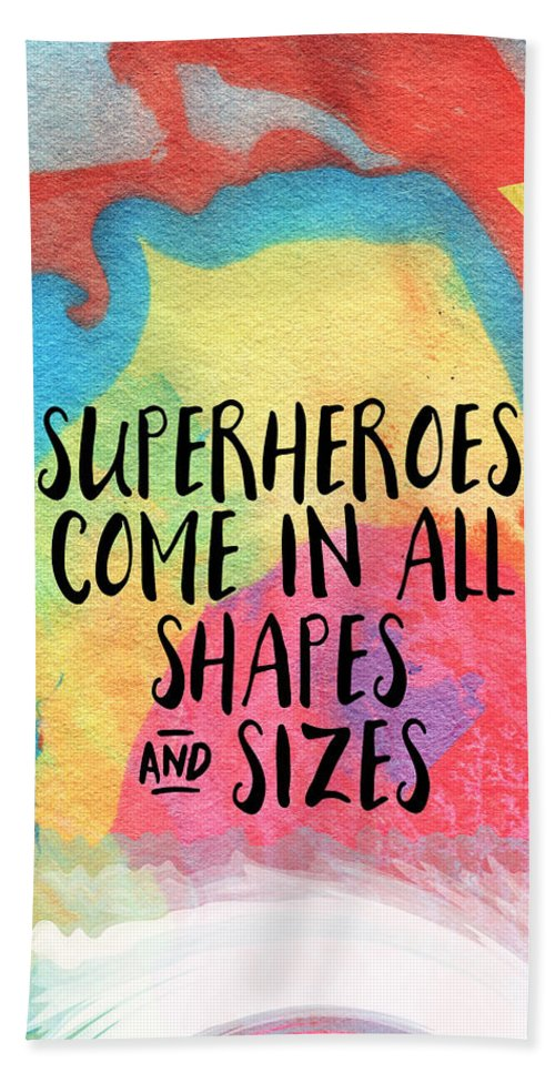 Inspirational Beach Towel featuring the painting Superheroes- inspirational art by Linda Woods by Linda Woods