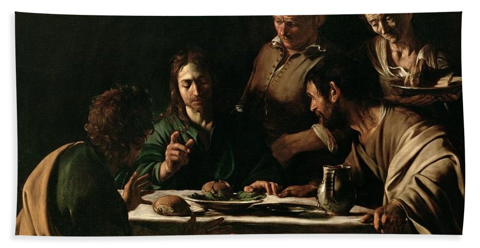 Supper At Emmaus Beach Towel featuring the painting Supper At Emmaus by Michelangelo Merisi da Caravaggio