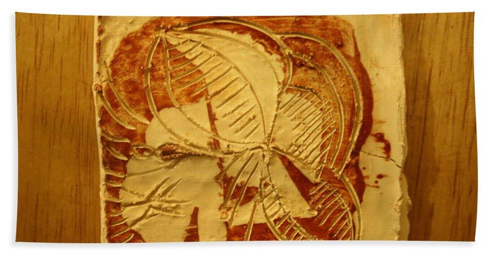 Jesus Beach Towel featuring the ceramic art Surf Life - Tile by Gloria Ssali