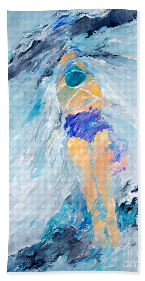 Water Beach Towel featuring the painting Surface Tension by Lisa Baack