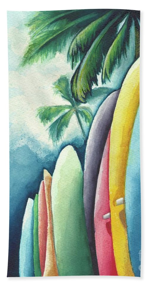Watercolor Beach Towel featuring the painting Surf's Up by Ana Corrales