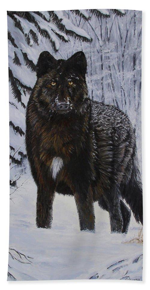 Wildlife Beach Towel featuring the painting Surprise Encounter by Johanna Lerwick