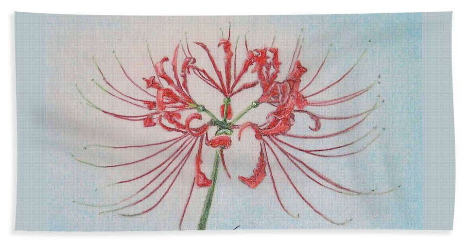 Fuqua - Artwork Beach Towel featuring the drawing Surprise Lily by Beverly Fuqua