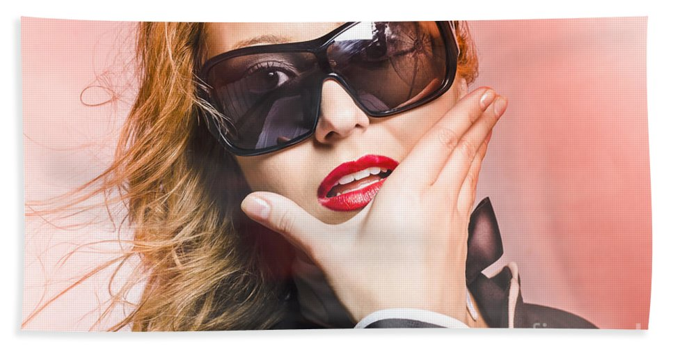 Sunglasses Beach Towel featuring the photograph Surprised Young Woman Wearing Fashion Sunglasses by Jorgo Photography - Wall Art Gallery