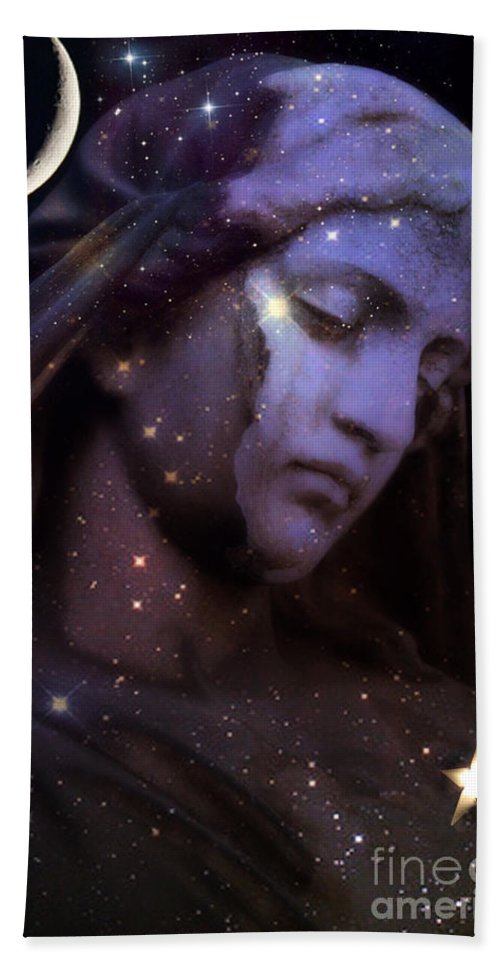 Celestial Angel Art Beach Towel featuring the photograph Surreal Celestial Angelic Face With Stars And Moon - Purple Moon Celestial Angel by Kathy Fornal