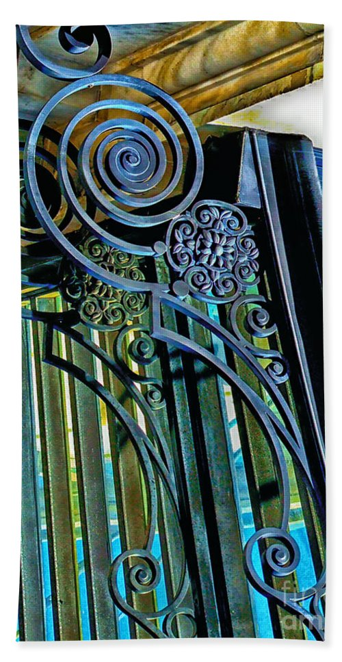 Wrought Iron Beach Towel featuring the photograph Surreal Reflection And Wrought Iron by Frances Ann Hattier