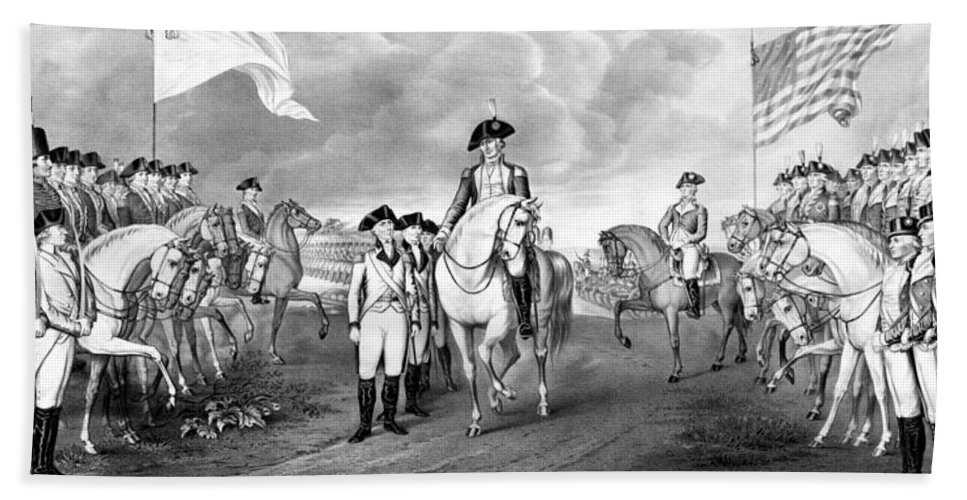 George Washington Beach Towel featuring the mixed media Surrender Of Lord Cornwallis At Yorktown by War Is Hell Store