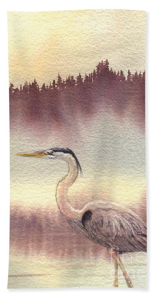 Heron Beach Towel featuring the painting Surveyor Of The Morning by Lynn Quinn