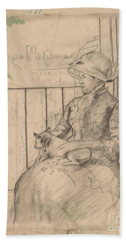 Beach Towel featuring the drawing Susan On A Balcony Holding A Dog [recto] by Mary Cassatt