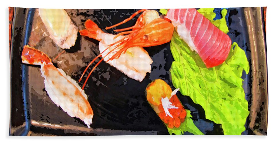 Sushi Plate Beach Towel featuring the mixed media Sushi Plate 2 by Dominic Piperata