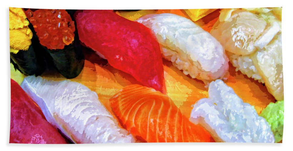 Sushi Plate Beach Towel featuring the mixed media Sushi Plate 4 by Dominic Piperata