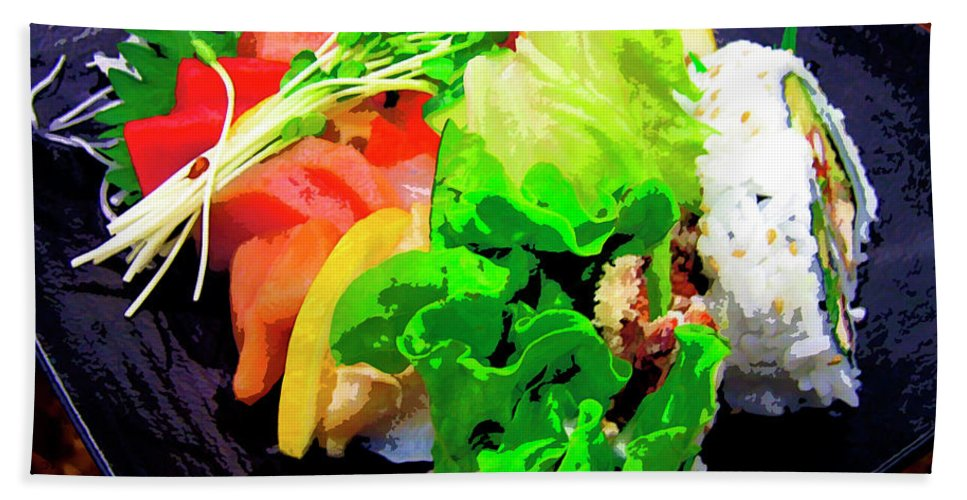 Sushi Plate Beach Towel featuring the mixed media Sushi Plate 5 by Dominic Piperata