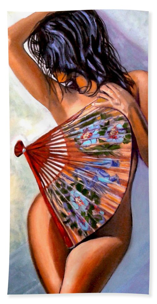 Women Beach Towel featuring the painting Susie by Jose Manuel Abraham