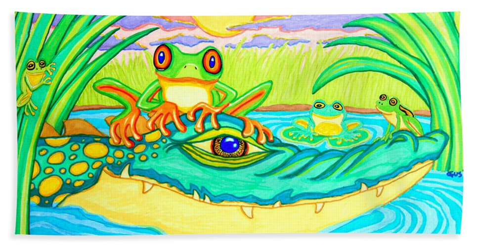 Frog Beach Towel featuring the drawing Swamp Life by Nick Gustafson