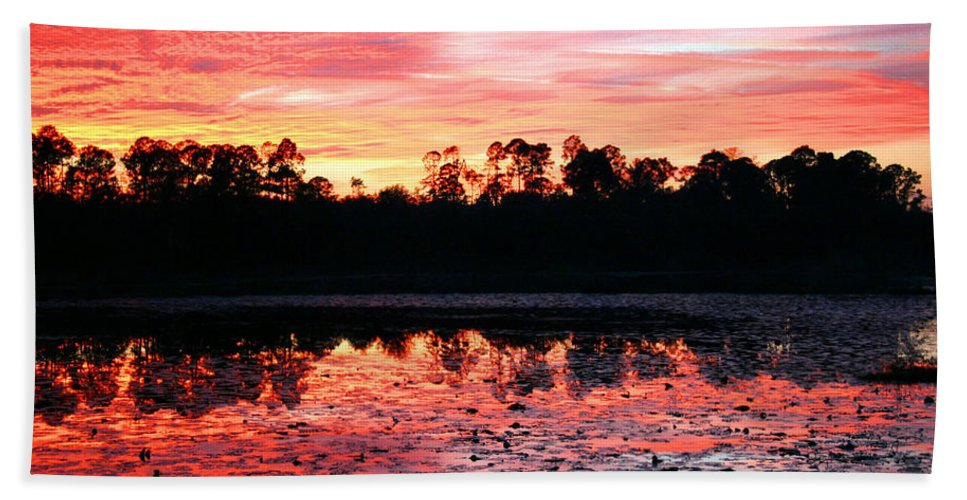 Swamp Beach Towel featuring the photograph Swamp Sunset by Kristin Elmquist